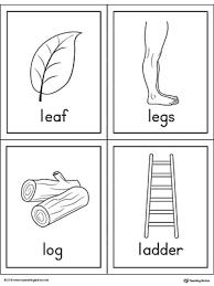 Letter L Words and Printable Cards Leaf Legs Log