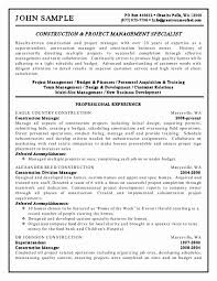 Ngo New Project Manager Resume Sample For Management Lovely Construction Objective