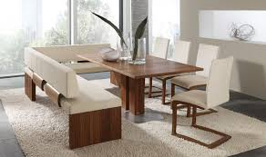 Country Style Decor Dining Room Set With Corner Bench Brown Fabric Throughout Leather At New York