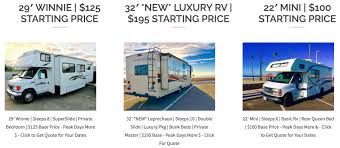 Rv Rental Prices In San Diego Range From Just 57 For Small Pop Trailers To 500 Per Day Large Diesel Pusher Class A Rvs At Fun