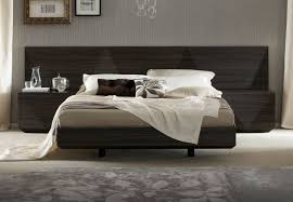 Lacquered Made in Italy Wood Luxury Platform Bed with Two Tone