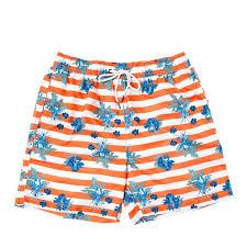 100 Coco Republic Sale Mens Striped Floral Board Shorts In Orange