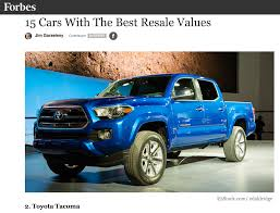 Forbes Ranks The Tacoma As Its #2 Best Resale Value Vehicle Out Of ... New Cars With The Highest Resale Value 2015 9 Trucks And Suvs The Best Bankratecom Truck Force Vol4 Iss3 July 2014 By Bravo Tango Advertising Issuu 10 Vehicles Values Of 2018 Work Magazine Septemoctober 2011 Bobit Business Media Ford F150 Gets An Ecoboost 20 Images 2016 Chevy Wallpaper Top 5 Pickup In Us Forbes Ranks Tacoma As Its 2 Best Resale Value Vehicle Out Of Want Buy A Car Pro