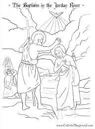 Baptism Of The Lord In Jordan River By St John Baptist Catholic Coloring Page Feast Is January