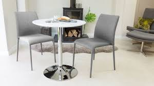 White Round Pedestal Kitchen Table With Grey Chairs Two Seater