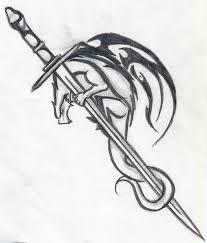 Dragon With Sword Tattoo Stencil