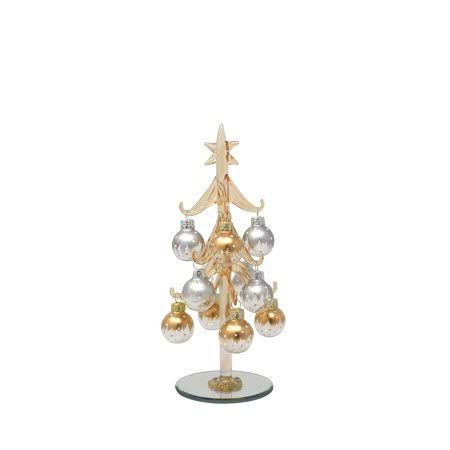 LS Arts XM-1128 8 in. Champagne with 12 Ornaments Tree