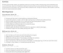 Resume For Cashier Job Store Clerk Description Template