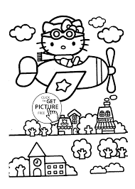 Hello Kitty On Airplain Coloring Pages For Kids