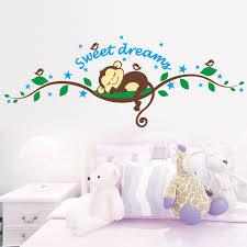 süße träumen schlafen affe auf die bäume wandaufkleber für kinderzimmer 1203 wandtattoo wand kinder kindergarten schlafzimmer dekoration