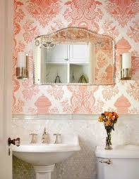 bathroom home beautiful ideas with damask wallpaper and mosaic
