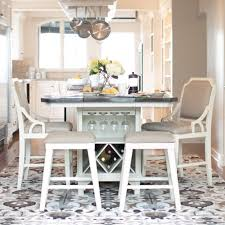 Luella Table 2 Backless Stools Gathering Chairs In Weathered Two Tone