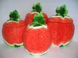 WATERMELON 3 D Majolica 4 Canisters Set NEW KMC KK Watermelon