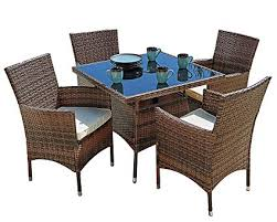 Suncrown Outdoor Furniture All Weather Square Wicker Dining Table And Chairs 5 Piece