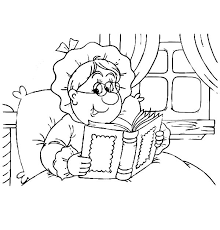 Grandmother Read A Book On Her Bed Coloring Pages