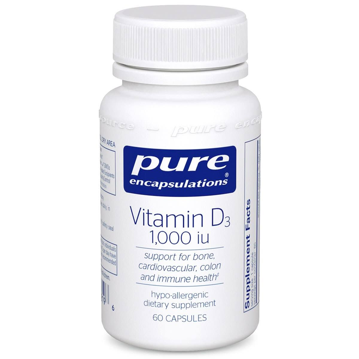 Pure Encapsulations Vitamin D3 1000 IU Supplement - 60 Capsules
