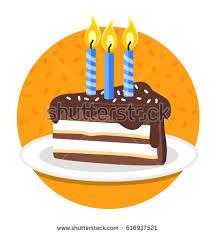 Slice of birthday cake Vector illustration