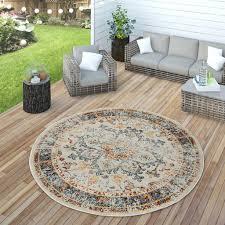 orient teppich outdoor bunt balkon terrasse vintage design strapazierfähig grösse ø 160 cm rund