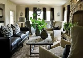 Black Leather Sofa Decorating Ideas Dark Curtains