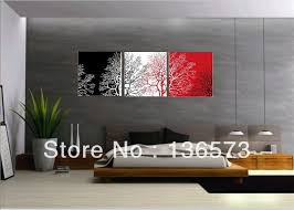 3 Piece Wall Art Sets Handmade Modern Abstract Still Life Black White Red Tree Canvas Painting Oil Artwork Home Decor Pictures In Calligraphy