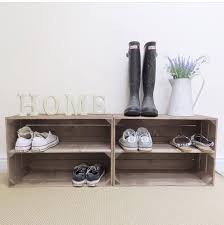 2 X Shabby Chic Handmade Wooden Apple Crate Shoe Rack Rustic