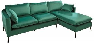 casa padrino velvet corner sofa emerald green black 260 x 160 x h 93 cm living room sofa with pillows in retro style living room furniture