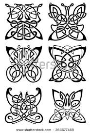 Celtic Tattoos Of Graceful Black Butterflies With Ornamental Wings Composed From Traditional Scandinavian Knot Patterns