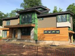 104 Contemporary Cedar Siding A P Roofing This Modern House Is Coming Out Really Cool Hardie Artisan Heavy Aluminum Fascias And Standing Seam Metal Roof The Green Areas Will Be Stucco