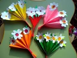 Folded Fan Bouquet Of Flowers For Mothers Day Craft