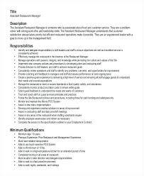 Sample Resume For Restaurant Assistant Manager Free Supervisor