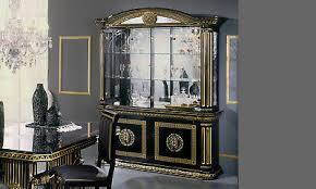 vitrine wohnzimmerschrank schwarz gold hochglanz mäander dekor klassik italien