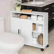 sobuy nischenschrank badrollwagen seitenschrank badschrank mit offener ablage bzr02 w