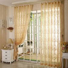 floral bedroom and living room home light yellow sheer curtain