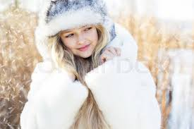 Winter Little Cute Girl Outdoors In Cold Day With Snow Portrait Caucasian Female Blonde Child Model Outside