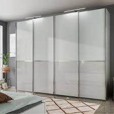 wiemann shanghai 2 v i p schwebetürenschrank front oben in glas weiß und unten in glas kieselgrau breite und höhe wählbar
