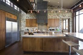 Stone Covered Walls Is Another Way To Go For An Industrial Kitchen