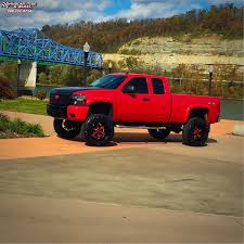100 Black And Red Truck Rims Chevrolet Silverado 1500 Moto Metal MO969 Wheels Satin Accents