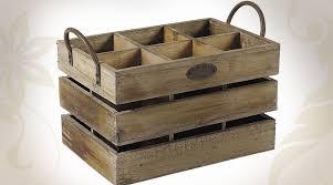 caisse a vin en bois caisse à bouteilles en bois vieilli et métal à 6 compartiments