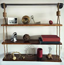 Rustic Hanging Shelf Shelves Pipe Book