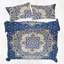 Blue Golden Gold Queen Size Hippie Mandala Duvet Cover Set Shri