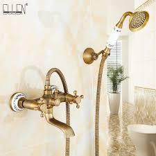 wand montiert bad wasserhahn mit dusche antique bronze badewanne mischbatterie mit dusche armaturen sets el8306