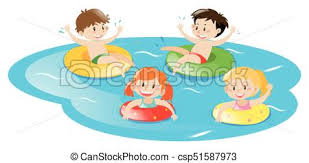Four Kids Swimming In Pool