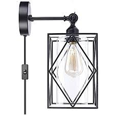 metall käfig wandleuchte innen mit schalter stecker kabel schwarz wandle rund glas einstellbar vintage industrial design wandbeleuchtung retro