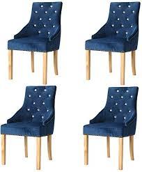 vidaxl 4x eichenholz massiv esszimmerstuhl küchenstuhl essstuhl stuhl set sessel stühle polsterstuhl wohnzimmerstuhl esszimmerstühle blau samt