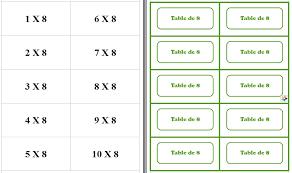 mémory tables de multiplication document gratuit