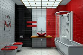 Red And Black Bathroom Wall Decor White Brick Wall, Red Bathroom ... Red Bathroom Babys Room Bathroom Red Modern White Grey Bathrooms And 12 Accent Ideas To Fall In Love With Fantastic Design Floor Tub Small Master Bath Paint Pating Decor Design Orange County Los Angeles Real Blue Yellow Accsories Gray Kitchen And Inspiration Behr Style Classic Toilet Retro Dilemma Colors Or Wallpaper For Dianes Kitschy Interior Mesmerizing Fniturered