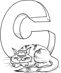 Letter C And Cat Sleeping Coloring For Kids