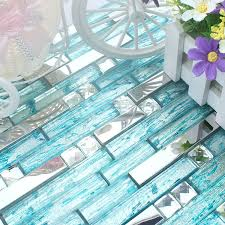 blue glass mixed stainless steel mosaic tiles for
