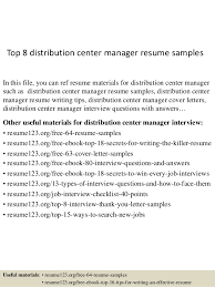Top 8 Distribution Center Manager Resume Samples In This File You Can Ref Materials