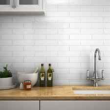 mileto brick white gloss ceramic wall tile 75 x 300mm pack of 25